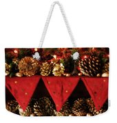 Christmas Decorations Of Garlands And Pine Cones Weekender Tote Bag