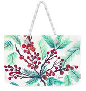 Christmas Holly Weekender Tote Bag