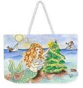 Christmas Mermaid Weekender Tote Bag