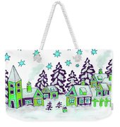 Christmas Picture In Green And Blue Colours Weekender Tote Bag