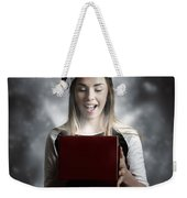 Christmas Present Girl Opening Magic Gift Box Weekender Tote Bag