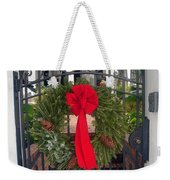 Christmas Ribbon On Iron Door Weekender Tote Bag