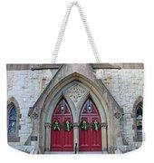 Christmas Wreaths On Red Church Doors Weekender Tote Bag