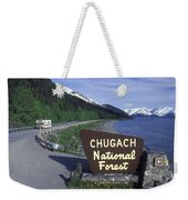 Chugach National Forest Sign And Scenic Weekender Tote Bag