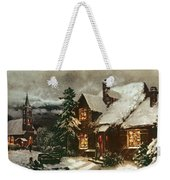 Church And Cottage With Lighted Windows Weekender Tote Bag
