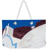 Church And Windmill In Santorini Greece Weekender Tote Bag