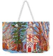 Church Snow Scene Weekender Tote Bag