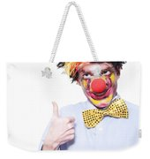 Circus Clown With Thumb Up To Carnival Advertising Weekender Tote Bag by Jorgo Photography - Wall Art Gallery