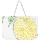 Citrus Fruit Illustrated With Cities Of Florida State Weekender Tote Bag