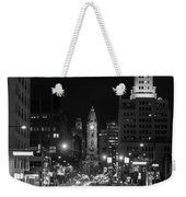 City Hall - Black And White At Night Weekender Tote Bag