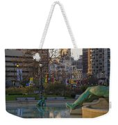City Hall Reflecting In Swann Fountain Weekender Tote Bag
