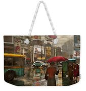 City - Ny - Times Square On A Rainy Day 1943 Weekender Tote Bag