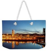 City Of Portland Skyline Blue Hour Panorama Weekender Tote Bag