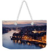 City Of Porto In Portugal At Dusk Weekender Tote Bag