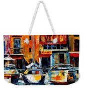 City Pier - Palette Knife Oil Painting On Canvas By Leonid Afremov Weekender Tote Bag