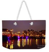 City Scenic From Amsterdam With The Blue Bridge In The Netherlands Weekender Tote Bag