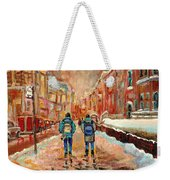 Cityscape In Winter Weekender Tote Bag