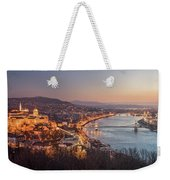 Cityscape Of Budapest, Hungary At Night And Day Weekender Tote Bag