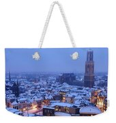 Cityscape Of Utrecht With The Dom Tower  In The Snow 13 Weekender Tote Bag