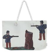 Civil War Soldier & Tree Trunk Bank Weekender Tote Bag