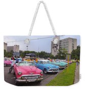 Classic Cars In Revolutionary Square Cuba Weekender Tote Bag