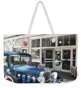 Classic Chevrolet Automobile Parked Outside The Store Weekender Tote Bag