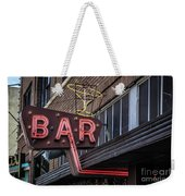 Classic Neon Sign For A Bar Livingston Montana Weekender Tote Bag