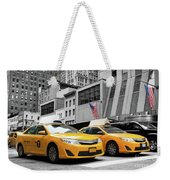 Classic Street View Of Yellow Cabs In New York City Weekender Tote Bag