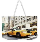 Classic Street View With Yellow Cabs In New York City Weekender Tote Bag