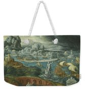 Classical Landscape With Ships Running Before A Storm Towards A Classical Harbour Probably Corinth Weekender Tote Bag