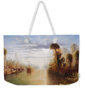 Classical River Landscape With Figures On The Steps Below A Temple Embarking Boats Weekender Tote Bag