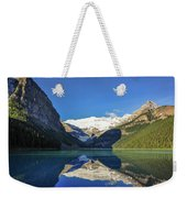 Clear Reflections In The Water At Lake Louise, Canada. Weekender Tote Bag