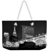 Cleveland Black And White Panoramic Weekender Tote Bag