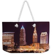 Cleveland Skyline Night Color - Downtown Buildings Weekender Tote Bag
