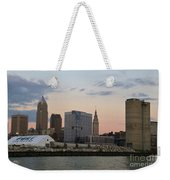 Cleveland Skyline And Port On The Cuyahoga River Weekender Tote Bag
