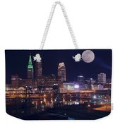 Cleveland With Full Moon Weekender Tote Bag