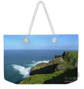 Cliff's Of Moher With White Water At The Base In Ireland Weekender Tote Bag
