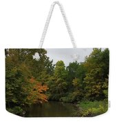 Clinton River In Autumn Cloudy Day Weekender Tote Bag