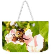 Close Up Bumble Bee Climbing Out Of Hibiscus Flower Weekender Tote Bag