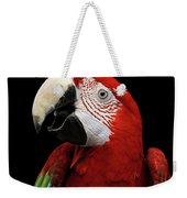Close-up Funny Portrait Green-winged Macaw, Ara Chloroptera, Isolated Black Background Weekender Tote Bag by Sergey Taran