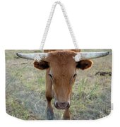 Close Up Of Longhorn Head Through Fence Weekender Tote Bag