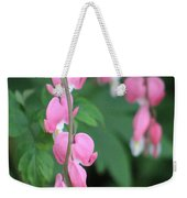 Close Up Of Peacock Pink Bleeding Hearts On Hunter Green Foliage 2 Weekender Tote Bag