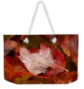 Close-up Of Raindrops On Maple Leaves Weekender Tote Bag