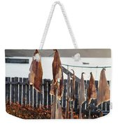 Close Up Of Salt Cod Pieces Drying In Bonavista, Nl, Canada Weekender Tote Bag