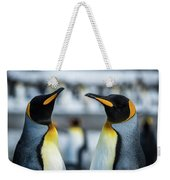 Close-up Of Two King Penguins In Colony Weekender Tote Bag