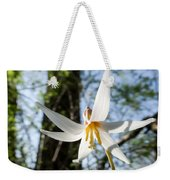 Close-up Of White Trout Lily Weekender Tote Bag
