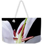 Close-up Photograph Of A White Oriental  Lily Weekender Tote Bag