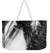 Close Up Portrait Of A Horse In Falling Snow Weekender Tote Bag