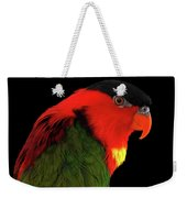 Close-up Yellow-bibbed Lory, Lorius Chlorocercus, Isolated On Black Background Weekender Tote Bag by Sergey Taran