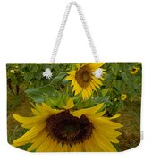 Close View Of A Sunflower At The Edge Weekender Tote Bag